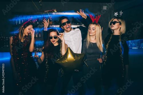 Acrylic Prints Group of friends at club having fun