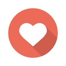 Heart Shape Flat Design Long Shadow Icon