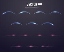 Realistic Light Effect Lens Flare Animation Frames Set For Games. Vector Illustration