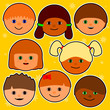 happy smiling colourful comic faces in front of a yellow background with stars