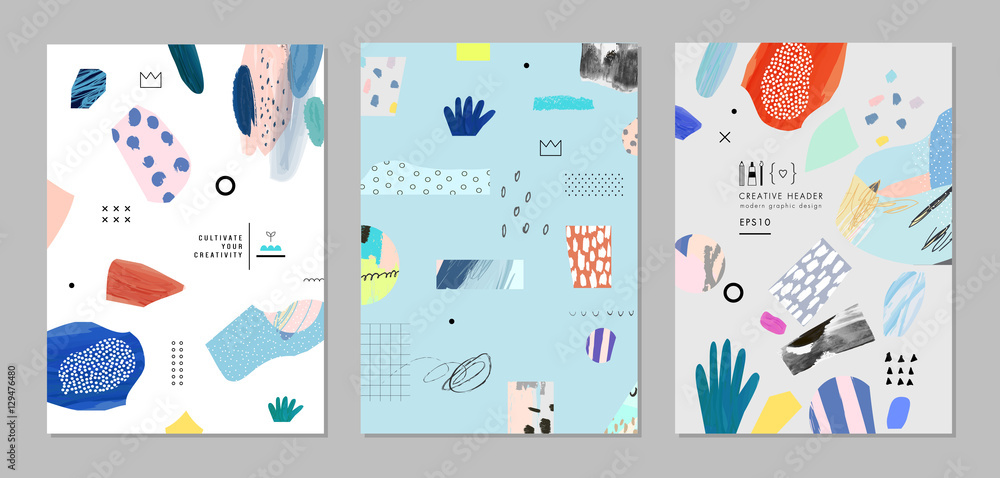 Fototapety, obrazy: Collection of trendy creative cards with different shapes and textures. Vector