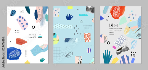 Foto  Collection of trendy creative cards with different shapes and textures