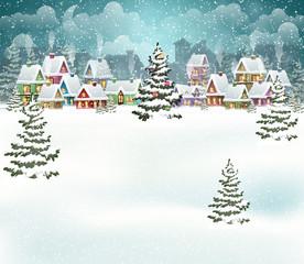 Fototapeta Boże Narodzenie/Nowy Rok Winter city
