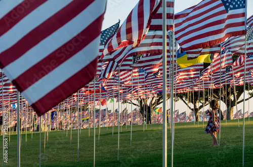 Fotografia  Girl dressed in patriotic colors walks among many US flags flying on poles