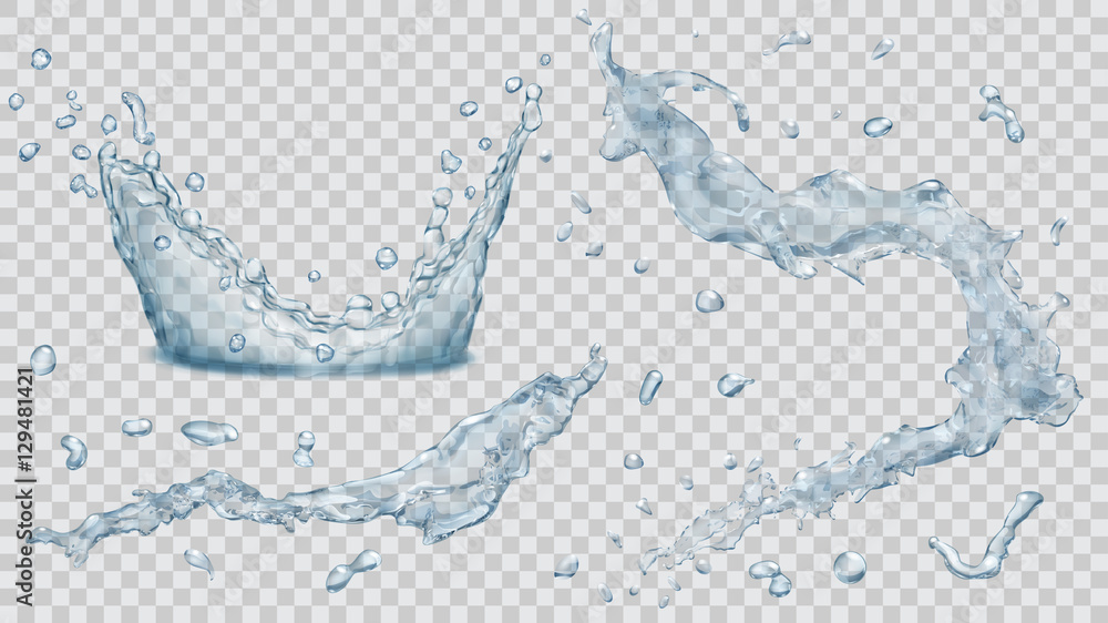 Fototapety, obrazy: Water splashes, water drops and crown from splash of water. Transparency only in vector file