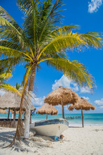 Beautiful Beach. Boat On The Beach. Tulum, Mexico, Carribean