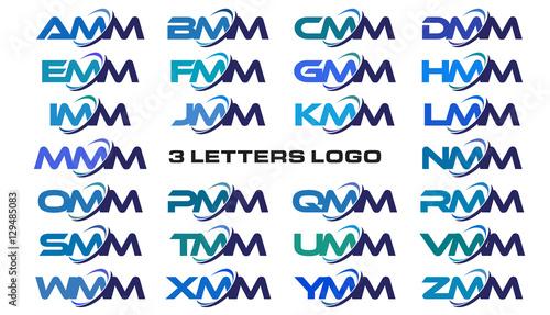 3 letters modern generic swoosh logo AMM, BMM, CMM, DMM, EMM, FMM, GMM, HMM, IMM Canvas Print