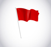Red Flag On Flagpole Isolated ...