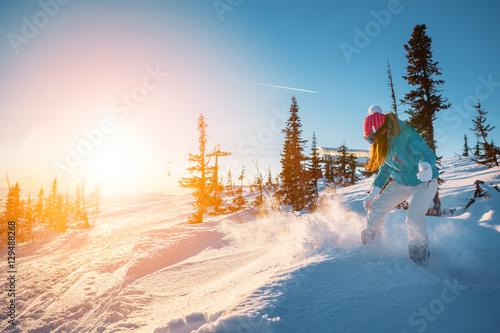 Fotobehang Wintersporten female snowboarder