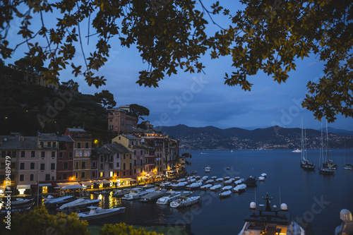 City on the water Portofino (Italy) at night