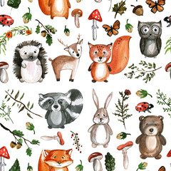 Naklejka Cute woodland animals Watercolor images Kindergarten zoo icons