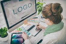 Graphic Designer At Work. Colo...