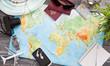 Leinwandbild Motiv Business travel traveling map world concept.