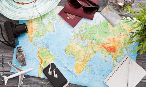 Business travel traveling map world concept. Fototapete