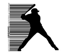 Silhouette Of A Baseball Player And Barcode