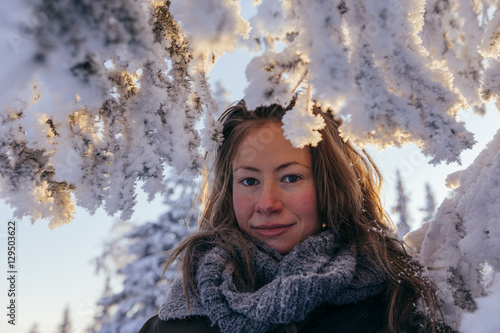Poster Fantasy Landscape cute woman in snowy frozen landscape