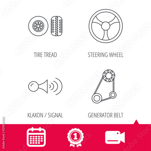 Achievement and video cam signs  Klaxon signal, tire tread and