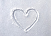 Hand Drawn Heart Shape In The Fresh Snow