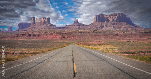 Canvas Print long road in canyon mountain area
