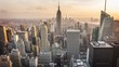 Aerial view of Manhattan skyline. From day to night. Timelapse.