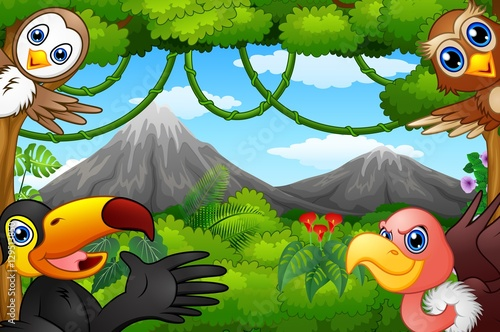 Wild birds cartoon with a mountain in a forest