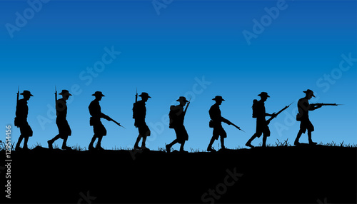 Papel de parede Anzac Day, Australian soldiers of World War 1 marching