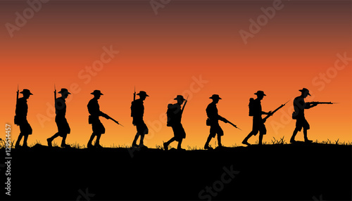 Fotografie, Obraz Anzac Day, Australian soldiers of World War 1 marching