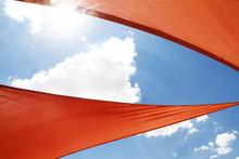 Orange Umbrella Blue Sky