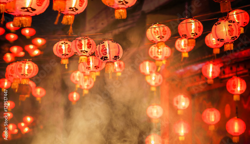 Chinese new year lanterns in chinatown, firecracker celebration