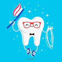 Happy Healthy Tooth With Toothpaste, Brush And Floss