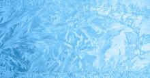 Beautiful Winter Ice, Blue Texture On Window, Festive Background