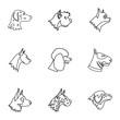 Dog icons set. Outline illustration of 9 dog vector icons for web