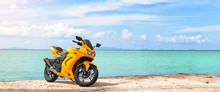 Panoramic Scene Of Sport Motorcycle At The Beach