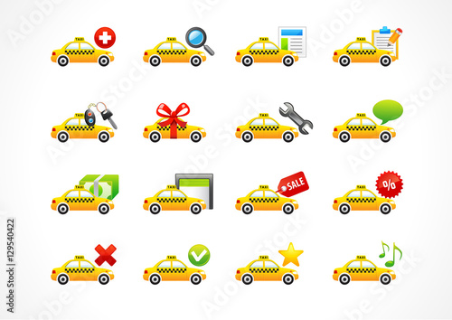 Vector icons online taxi phone call business  Taxi cab, web