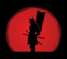Samurai Standing Designed On Sunlight Background Graphic Vector.