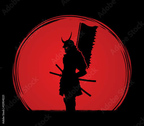 Photo  Samurai standing designed on sunlight background graphic vector.