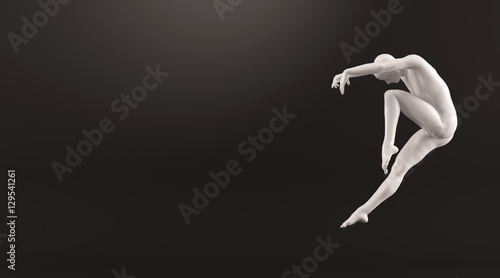 Foto  Abstract white plastic human body mannequin over black background