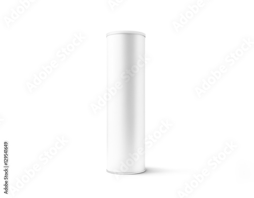 Cuadros en Lienzo Blank white cardboard cylinder box mockup with plastic lid, 3d rendering