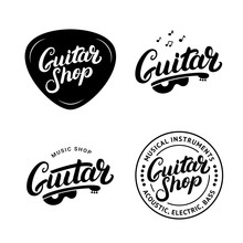 Set Of Guitar Shop Hand Written Lettering Logos, Emblems, Badges.