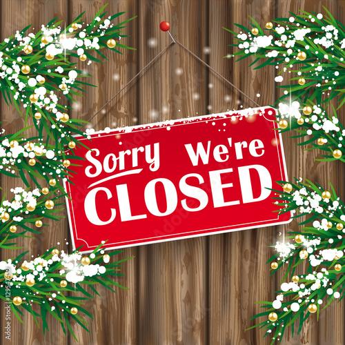 Christmas Twigs Worn Wood Closed Sign Billede på lærred
