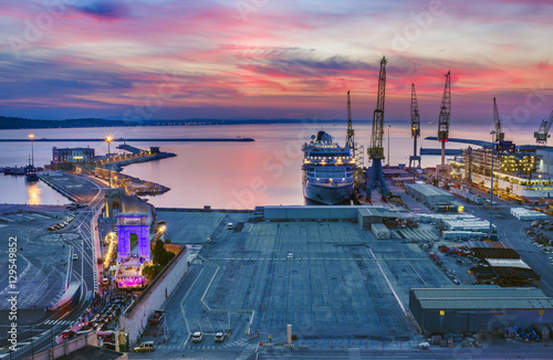 Industrial commercial port at sunset, Ancona, Italy Canvas Print