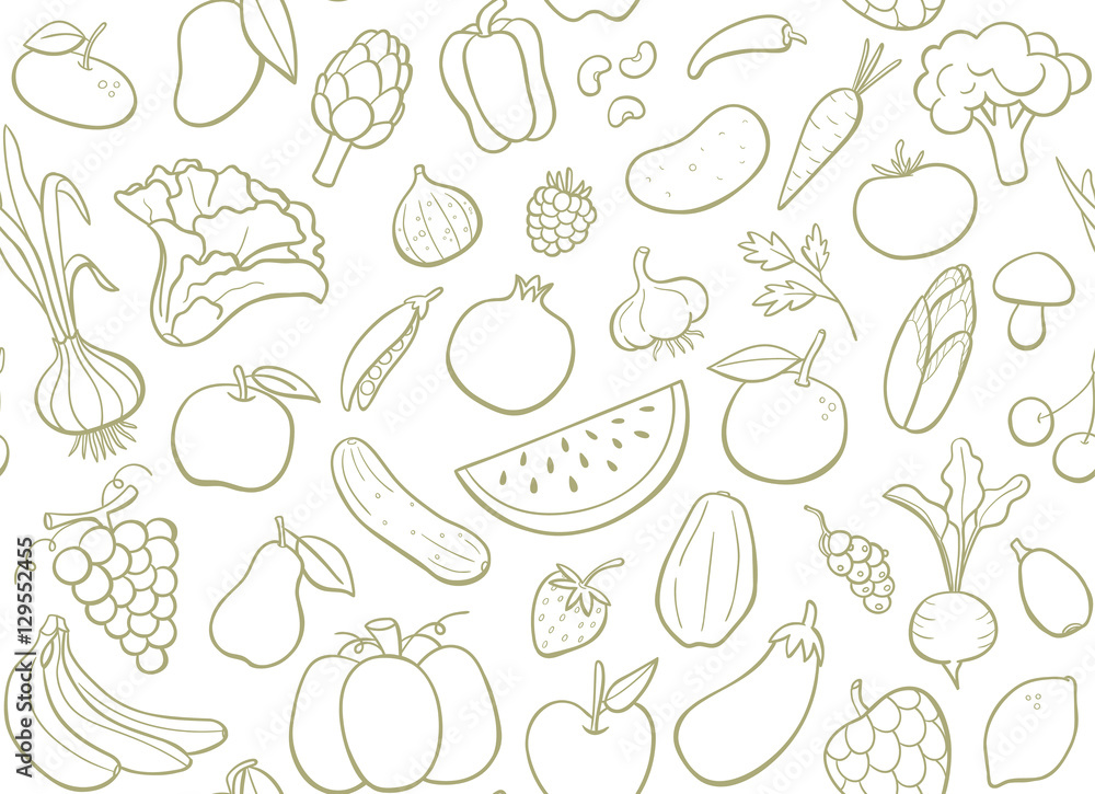 Hand drawn fruits and vegetables seamless pattern