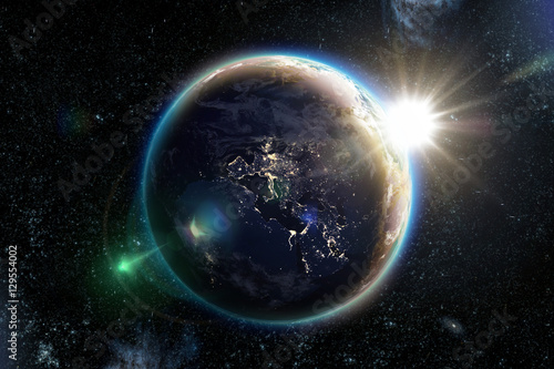 Foto op Plexiglas Nasa Planet earth from the space at night. 3D illustration