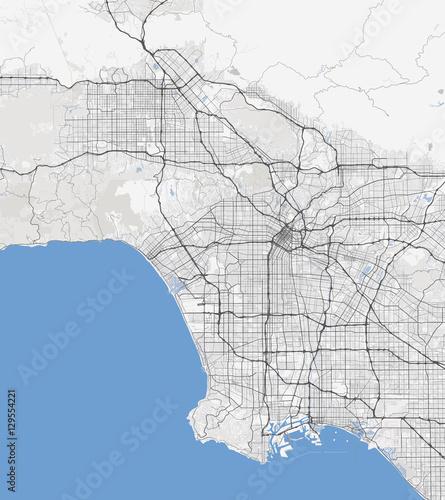 Map Los Angeles city. California Roads Fototapete