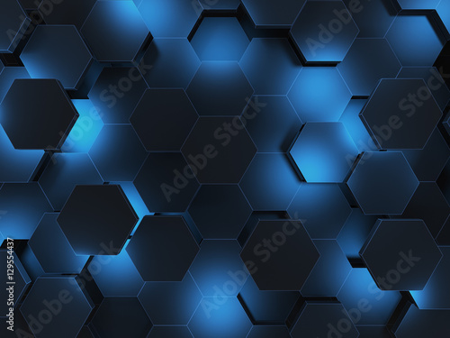 Poster de jardin UFO Abstract 3d-rendering background of futuristic surface with hexagons. 3D illustration