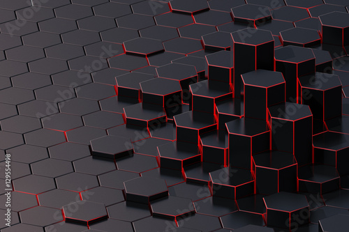 Dark abstract 3d-rendering background of futuristic surface with hexagons Canvas Print