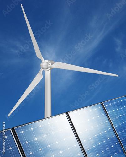 Zdjęcie XXL Wiatrowe panele słoneczne