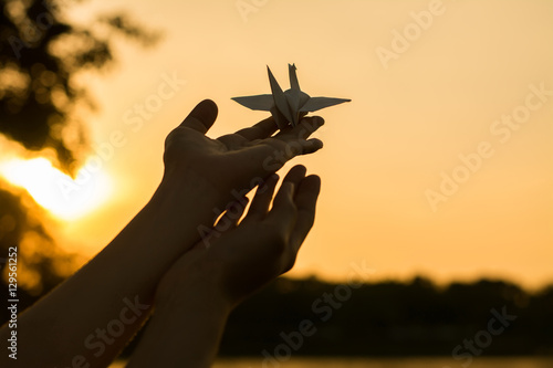 Fotografie, Obraz  Silhouette people pray from Buddha statue to hope for help on sun set and bokeh background