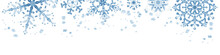 Winter Border With Blue Snowflakes On White Background . Hand-painted Horizontal Illustration