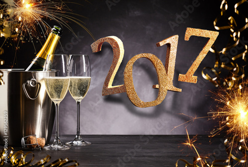 Fiery festive 2017 New Year party celebration Poster